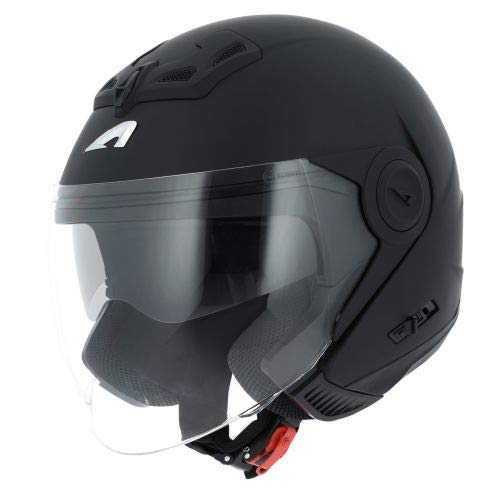 Astone Helmets - Casque jet DJ8 monocolor - Casque jet look rétro - Casque idéal en zone urbaine - Coque en polycarbonate - Matt black XL