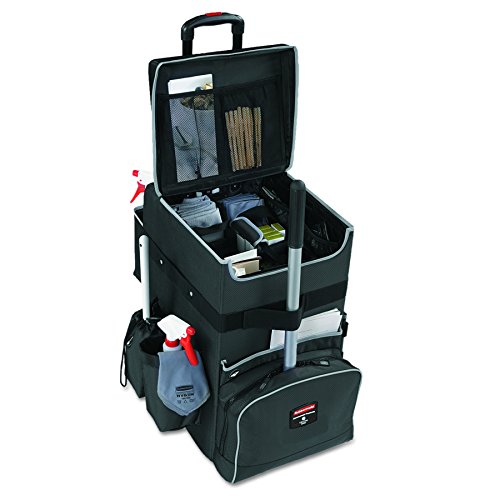 Rubbermaid Commercial Products, Executive Quick Carts Mobile/Travel Office Cart for Housekeeper, Sales Rep, Medical Professionals, Home Healthcare, Teachers - Large, Dark Gray