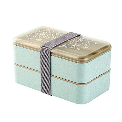 Yalucky Fiambrera Bento Box 2 Niveles BPA Gratis con Cubiertos Reutilizables Caja de Almuerzo de Estilo japonés para microondas Congelador Lavaplatos Lunch Box para niños Adultos (Verde)