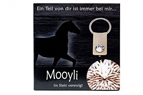 Sleutelhanger paard van Mooyli aandenken herinneringsstuk met Swarovski® kristal om te vullen