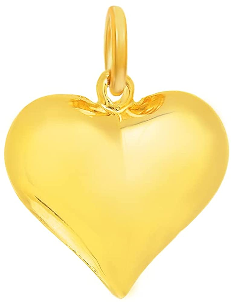 JewelStop sold out 14k Yellow Gold Popular standard Puffed Heart Pendant Charm Love