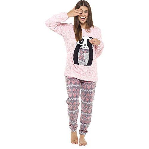 Ladies Pyjamas Set Womens Loungewear for Women Comfy Warm Soft Womans Pyjama Set (L, Dark Grey and Black)
