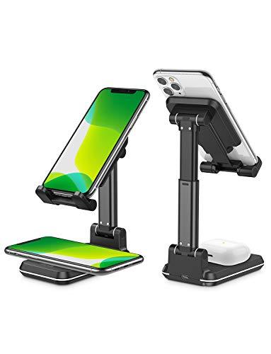 OMOTON Fast Wireless Charger, kabelloses faltbares Ladegerät für 10W / 7,5W Geräte, kompatibel für iPhone XS/XR/12/11/SE,Samsung S20/S10/S9/Note Serie,AirPods Pro/Galaxy Buds & alle Qi-Geräte