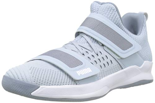 PUMA Unisex-Erwachsene Rise Xt Netfit 1 Futsalschuhe , Grau (Grey Dawn Heather-Puma White-Tradewinds 02), 44.5 EU (10 UK)