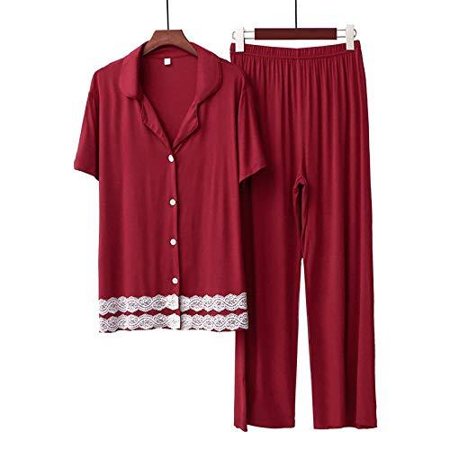 Pijamas Mujer AlgodónConjunto de Pijama de Mujer-Vino Rojo_Un código 80-140 kgPijamas Cálido Largos