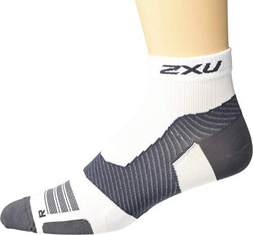 2XU Unisex's Vectr Ultralight Cushion 1/4 Crew Socks, White/Grey, Small