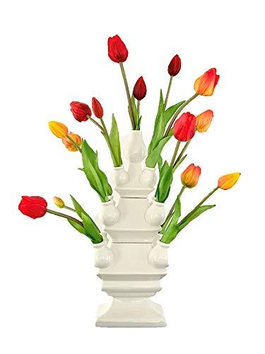 Tulpenvaas met Tulpen | Real touch bloem | Nep tulpen | Kunst tulpen | Kunstbloemen | Vaas met bloemen | Kantoorinrichting | Tulpenvaas Wit | Moederdag cadeau | Relatiegeschenk | Holland souvenir