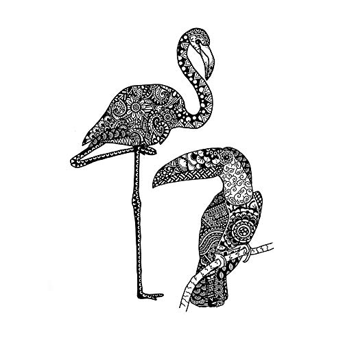 Crafty Individuals unmounted rubber stamp - Two Tropical Birds - Flamingo & Toucan - CI-563