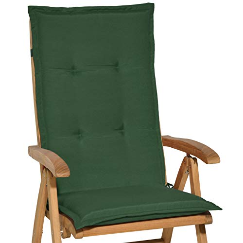 Beautissu Loft HL - Cojín para sillas de balcón o Asiento Exterior con Respaldo Alto - 120x50x6 cm - Placas compactas de gomaespuma - Verde Oscuro
