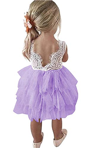 Toddler Baby Flower Girls Princess Tulle Dress Lace Backless Tutu A-line Beaded Party Dresses Purple