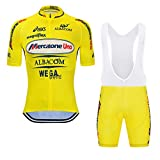 SGCIKER Marco Pantani Yellow Pro Team Retro Mercatone Uno Cycling Jersey Set Mens Summer Short Sleeve Breathable MTB Bike Clothing Bib Sets 9D Gel Pad(XL)