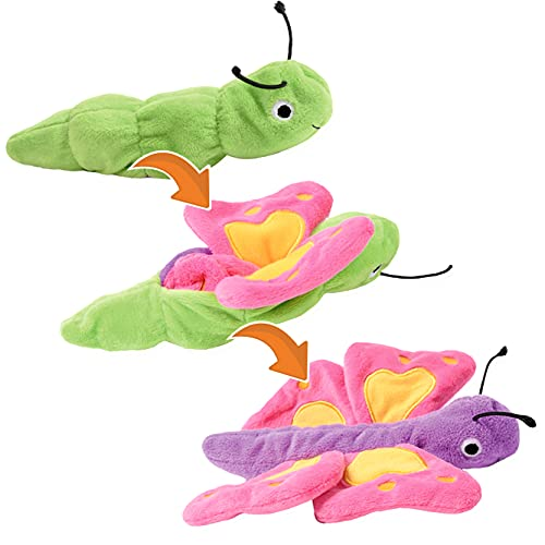 Creanino Kuscheltier 2 in 1 I Wende Plüschtier I Verwandlung und Entwicklung Reversible Plüsch, kreatives Flip Handpuppen Spielzeug, superweiches Lernspielzeug zum Wenden (Schmetterling)