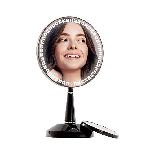 Impressions Schwarz Bijou LED Make-up Spiegel mit 5X Magnetischer Vergrößerungsspiegel, Runde Form Make-up Spiegel mit Ladeständer