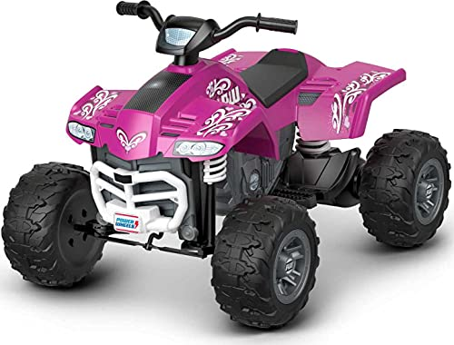 Fisher-Price Power Wheels Racing ATV, pink battery-powered ride-on vehicle for preschool kids ages 3-7 years