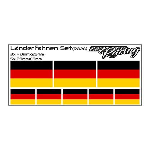 Finest-Folia 8 x Aufkleber Fahne Länderfahne Flagge RC Car Auto Motorrad Sticker Fahrrad Aufkleber Modellbau (R028 .Deutschland)