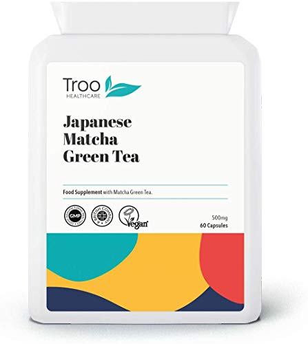 100% Pure Matcha Green Tea Supplement - 60 Capsules (500mg) - UK Manufactured to GMP Standards