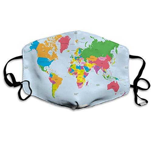 Klassische Bunte Weltkarte im politischen Stil Reisen Europa Amerika Asien Afrika Leichter Mundschutz zum Schutz vor Staubrauch,18x11cm