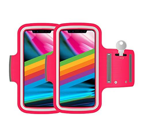 AR-Gun Brazalete Deportivo Pack 2 uds valido para Smartphones de hasta 6.8' Compatible con iPhone 11 Pro MAX XS MAX 11 Samsung Galaxy S20 Plus S10 Plus S9 Plus S8 Plus (Fucsia)