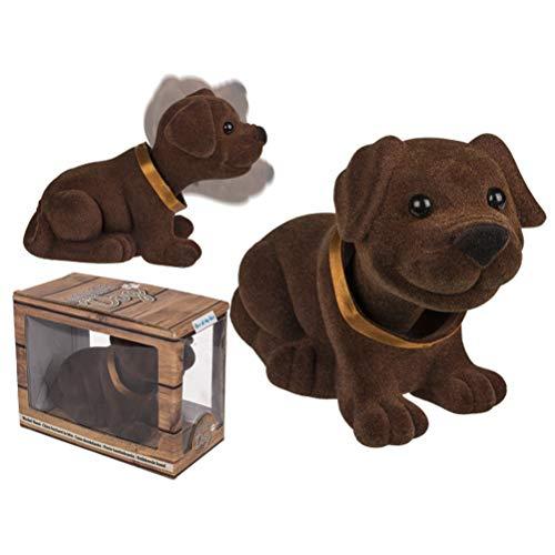 Wackeldackel braun, Kult Wackel Hund Nodding Dog - süßer 17cm Retro Dackel für die Hutablage