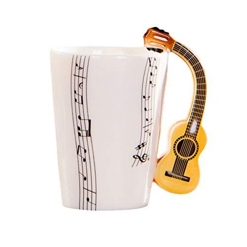 Lius Diseño de Notas Musicales Cerámica Bebida Té Taza de café Taza Guitarra acústica