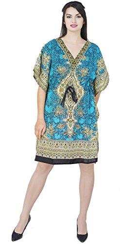SKAVIJ De Las Mujeres Túnica Impreso Caftán Kimono Maxi Vestido de Navidad (tamaño Libre)