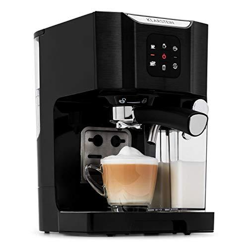 Klarstein BellaVita Espressomaschine mit Milchschaum-Düse, 3in1 Kaffeemaschine, Siebträger, 20 Bar, 1450 Watt, 1.4 Liter, für Cappucino, Espresso, Latte Machiato, pianoschwarz