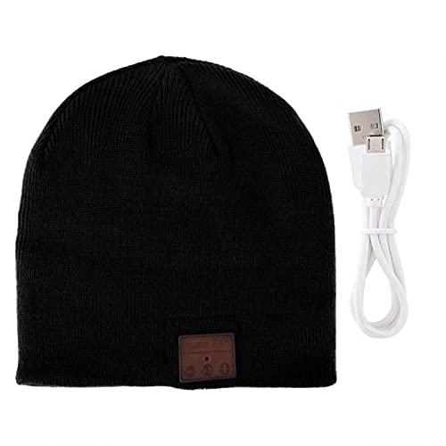 FOLOSAFENAR Sombrero de Auricular inalámbrico BT de Punto cálido de Fibra acrílica Bluetooth 4.2 Sombrero inalámbrico Full-Duplex para Calentar(Black)