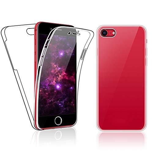 SDTEK Custodia per iPhone SE 2020 / iPhone 7/8 Protezione Frontale Posteriore Tutto Corpo 360 Cover Trasparente Trasparente