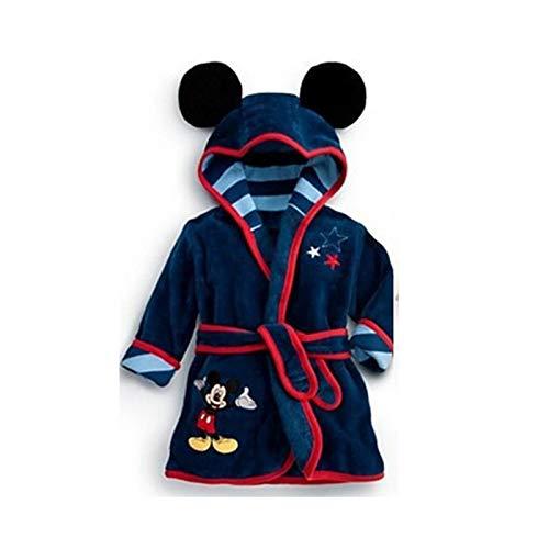 LOKKSI - Albornoz unisex con capucha, pijama de franela esponjosa para niños de 1 a 6 años, diseño de tigre de sirena, color azul