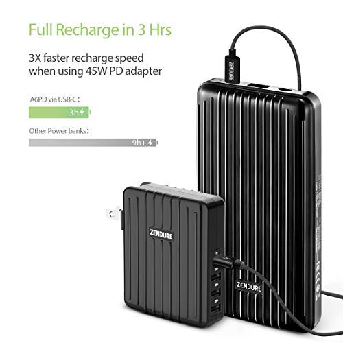 Zendure A6PD Power Bank with 20100mAh (Crush-Proofed, 2-Port Quick Charge 3.0, 45W Power Delivery for iPhone, MacBook, iPad, Android, Nintendo Switch, USB, USB-C, Hand Luggage Suitable), Black