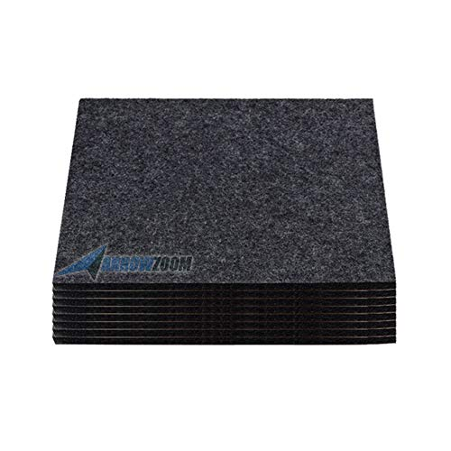 Arrowzoom 8 Deadening Sound Absorber Polyester Fiber High Density Fire Retardant Panels 12 X 12 in Black