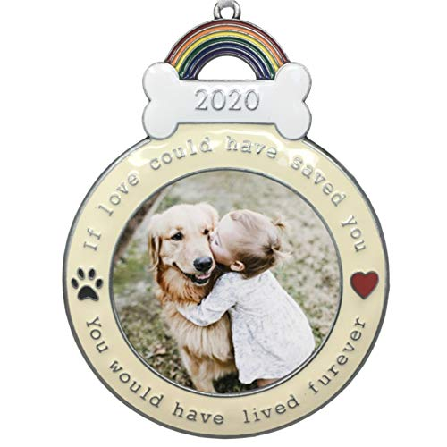 BANBERRY DESIGNS Dog Memorial Ornament - 2020 Dated Christmas Keepsake Picture Holder - If Love Could Have Saved You - Paw Prints and Heart Design - Loss of Dog Gifts