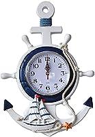 アンカー時計壁掛け時計アンカー時計ビーチ海テーマ船輪舵ハンドル装飾壁掛け装飾