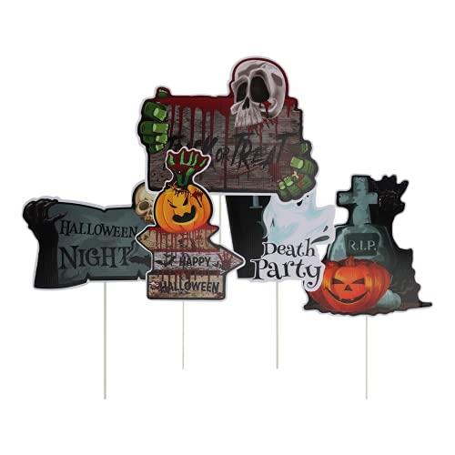 Yardwe 5 Stks Halloween Borden Gids Waarschuwing Board Street Sign Halloween Decoratie Accessoires Bars Huis Craft…