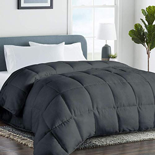 COHOME Queen 2100 Series Soft Warm Comforter Down Alternative Quilted Duvet Insert with Corner Tabs All-Season - Plush Microfiber Fill - Reversible - Machine Washable - Dark Grey