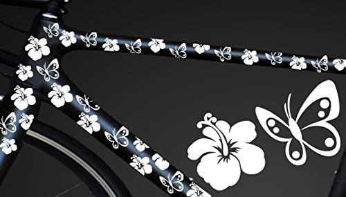 HR-WERBEDESIGN 24-teiliges Fahrrad Hibiscus Aufkleber Hibiskus Blumen Schmetterlinge Bike