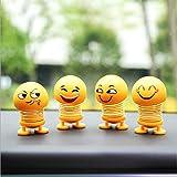 Frmarche 2pcs Printemps Mignon Emoji Secouant Poupée Voiture Ornement Intérieur Tableau De Bord Décoration Coup Jouets Voiture (Style aléatoire)