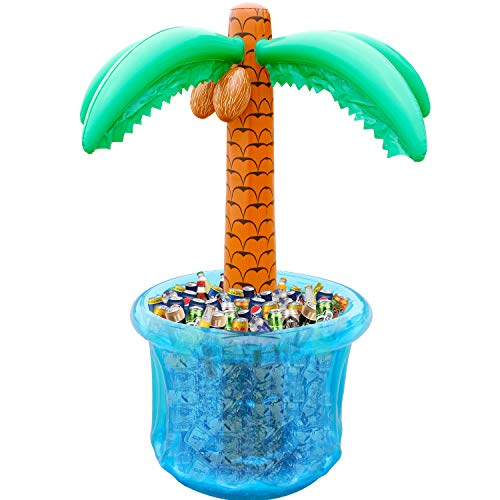 """PARENTSWELL 60""""Inflatable Palm Tree Cooler Summer Swimming Party Decoration Party Supplies for Pool Party Tropically Themed Party Luau Party and Hawaiian Party"""