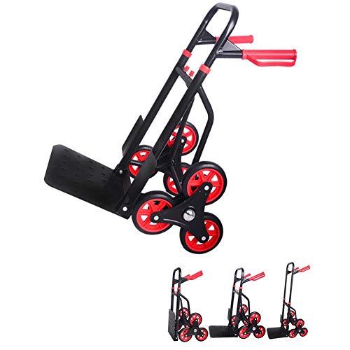 QIANGDA Carretillas Mano Escaladora Carro De Picnic Portátil Plegable Carro De Escalera para Todo Terreno (Color : Negro)