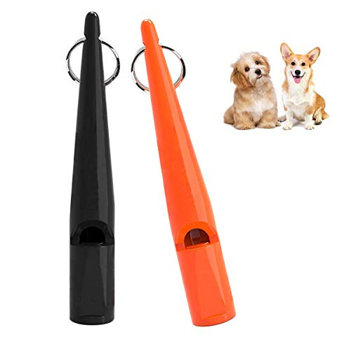 MICHETT, fischietto per cani, 2 pezzi, professionale, ad ultrasuoni, con cordino, frequenza standardizzata, ideale per l'addestramento del cane (nero, arancione)