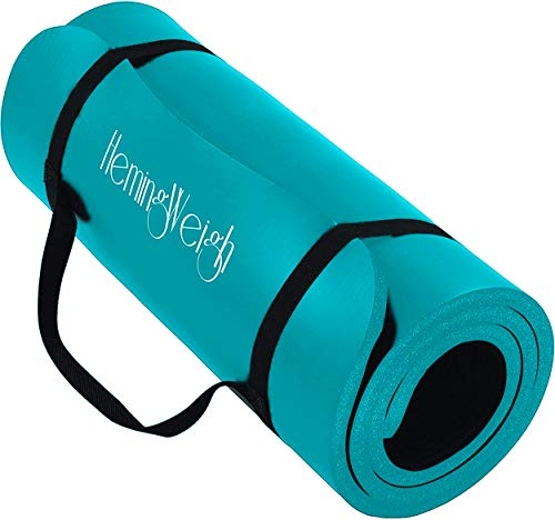 HemingWeigh Super Comfy, Moisture-resistant, Durable Yoga Mat, 1/4 Inch, Light Weight, Perfect For Yoga, Exercise, & Workout Mat - Teal