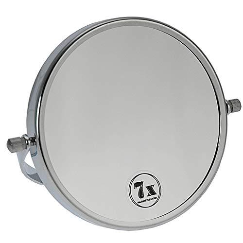 Zweilseitiger Kosmetik-Spiegel, Silber Kosmetex Stellspiegel 7-fach Vergrößerung, RS 1-fach, Metall, 360° drehbar