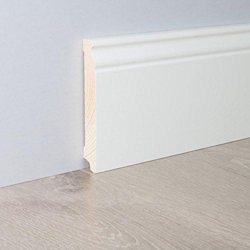 Sockelleiste Fußbodenleiste Altbau-Leiste Hamburger Profil in weiß lackiert aus unbehandeltem Kiefer-Massivholz 2400 x 19 x 115 mm (mit kleinem Kabelkanal)