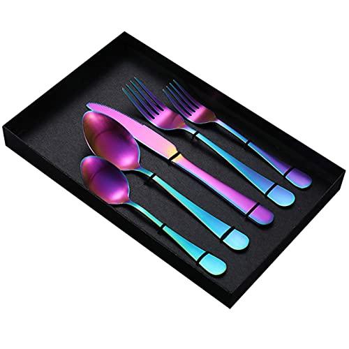 Canghai Juego de cubiertos de 4 piezas portátiles reutilizables de acero inoxidable, incluye cuchara de tenedor y cucharillas de cuchillo de mesa, juego de cubiertos de pulido espejo (transparente)