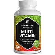 Multivitamin Kapseln hochdosiert, 23 wertvolle Vitamine A-Z & Mineralien, 120 vegetarische Kapseln für 4 Monate, Vitamine, Mineralstoffe & Spurenelemente optimal kombiniert, Ergänzung ohne Zusätze