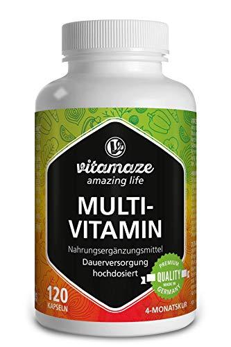 Multivitamin Kapseln hochdosiert, 23 wertvolle Vitamine A-Z & Mineralien, Mineralstoffe und Spurenelemente, 120 vegetarische Kapseln für 4 Monate, Natürliche Nahrungsergänzung ohne Zusatzstoffe