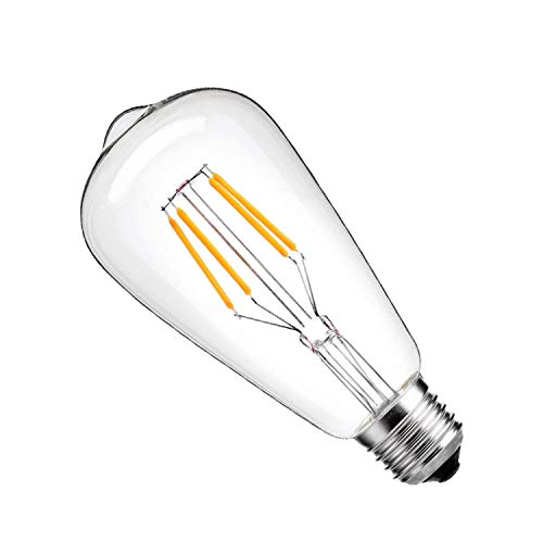ZUMEI 6W LED Dimmable Edison Light Bulb, With E26 Base, ST64 Cone Shape, 400lm, and Warm White 3000K, 60W Incandescent Replacement (6 Pack)