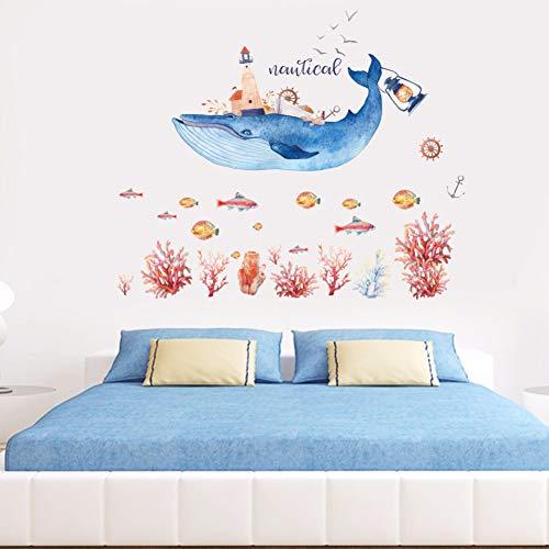 Pegatinas De Pared De Faro De Delfines De Dibujos Animados Para Sala De Estar Habitación De Niños Baño Pared De Fondo Decoración Extraíble Arte Calcomanías Mural