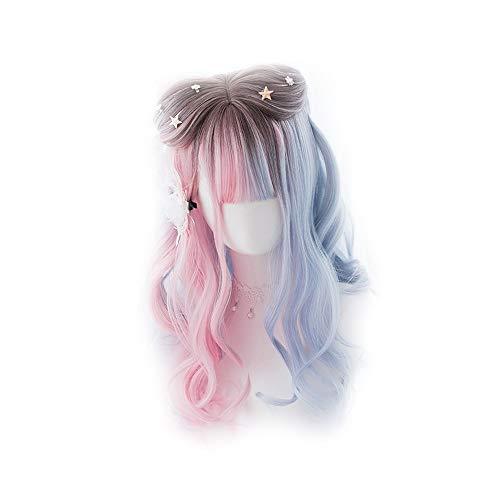 Langes gewelltes Haar mit rosa und blauen Farben auf beiden Seiten von Braun - Lolita Perücke für Frauen Cosplay Party Daily Use MUTSALAK