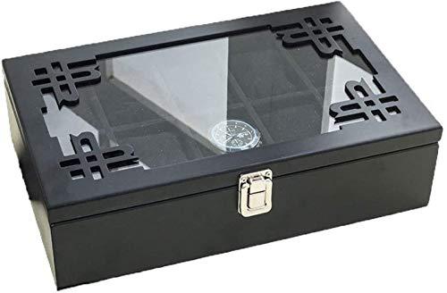 YIJIN Organizador de Caja de Reloj de Madera Maciza con Ranura Superior de Pantalla de Vidrio de,Black